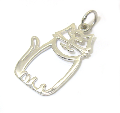 stříbrný přívěsek kočka bez kamínku tvar obrys