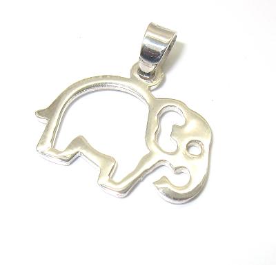 stříbrný přívěsek slon obrys bez kamínku 925/1000