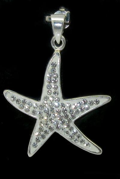 stříbrný přívěsek s kamínky Swarovski mořská hvězdice