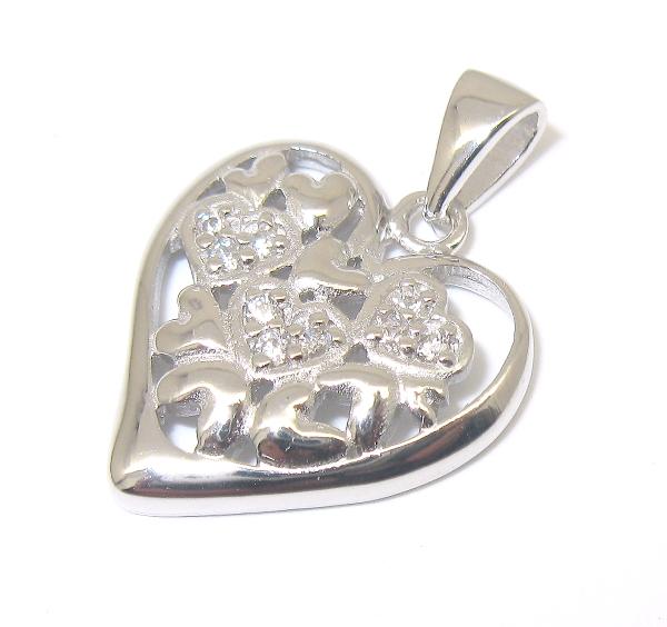 stříbrný přívěsek srdce s kamínky zirkon, úprava rhodium
