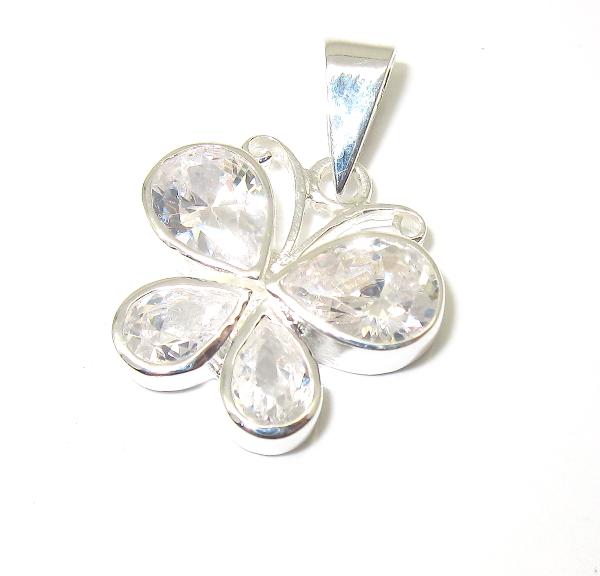 stříbrný přívěsek motýlek s kamínky zirkon