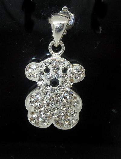 stříbrný přívěsek medvídek s kamínky Swarovski