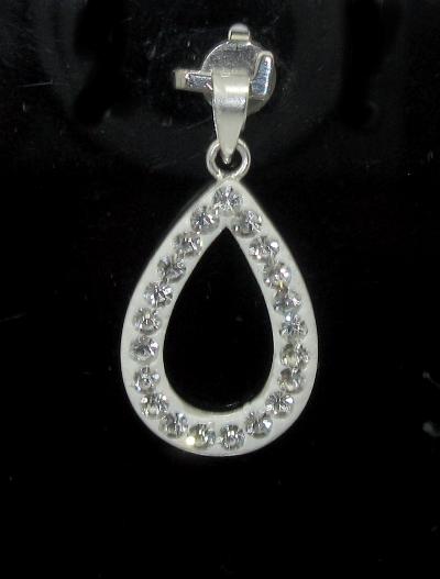 stříbrný přívěsek slza s kamínky Swarovski