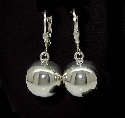 stříbrné náušnice koule bez kamínku lesklé 11 mm