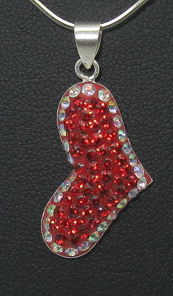 stříbrný řetízek s přívěskem srdíčko s kamínky Swarovski červeno bílé