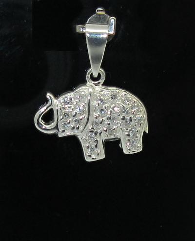 stříbrný přívěsek slon s kamínky zirkon