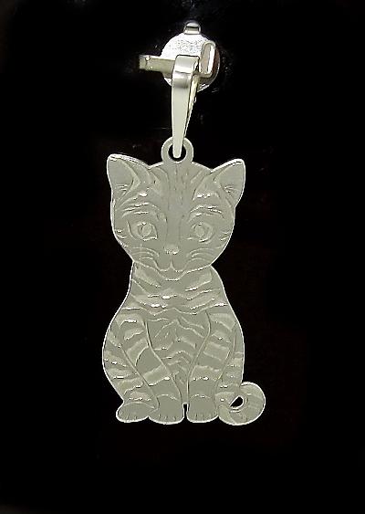 Stříbrný přívěsek kočka zdobení rhodium laser