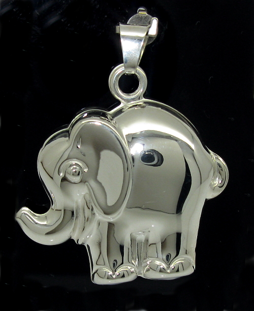 Stříbrný přívěsek slon vysoký lesk vzor 1