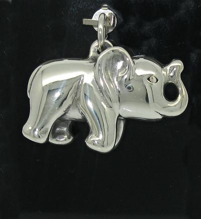 Stříbrný přívěsek slon oboustranný lesklý