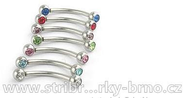 Piercing do obočí ocelové kuličky s kamínky