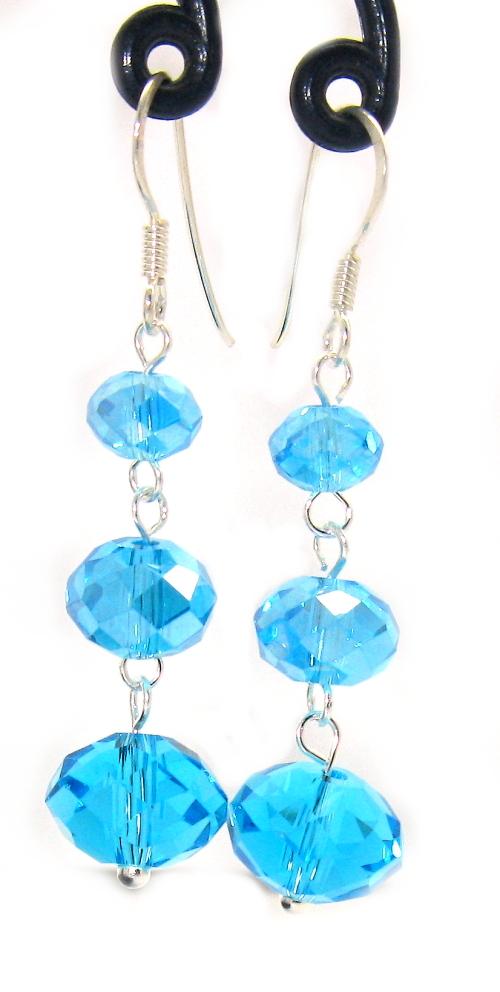 Stříbrné náušnice se zirkony typ tří koule pod sebou modrý zirkon