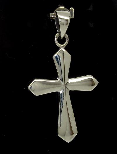 Stříbrný přívěsek kříž lesklý plný