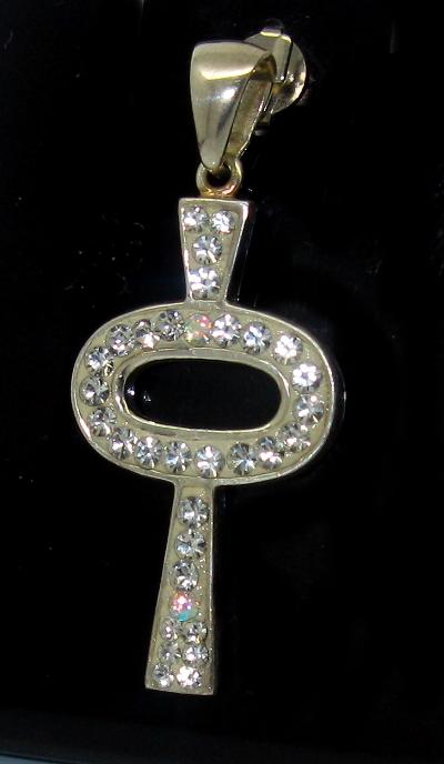 Stříbrný přívěsek s kamínky Swarovski motiv klíč