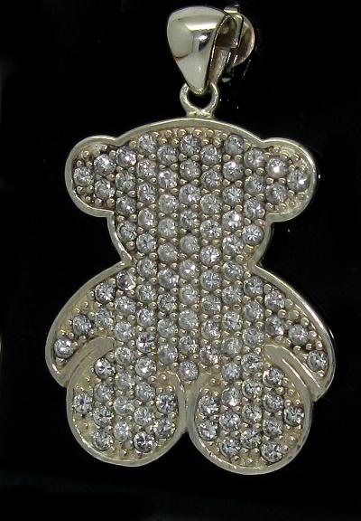 Stříbrný přívěsek s kamínky Swarovski motiv medvídek
