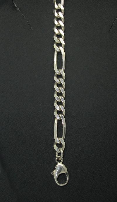 Stříbrný řetízek na ruku masivní figaro 21cm
