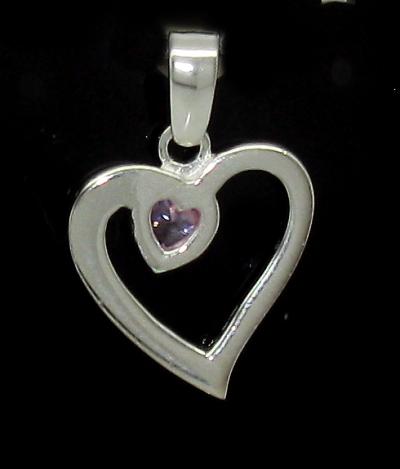 Stříbrný přívěsek srdce s růžovým kamínkem