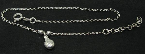 Stříbrné řetízky na nohu s přívěskem beruška slunéčko sedmitečné
