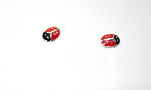 Stříbrné naušnice na puzetku červené slunéčko sedmitečné-beruška