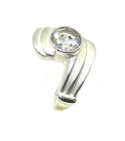 Stříbrný prsten se zirkonem v kombinaci rhodium velikost 52