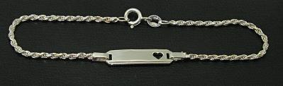 Stříbrný řetízek na ruku model s destičkou a srdíčkem délka 18cm