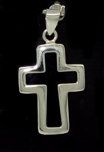 Stříbrný přívěsek kříž bez kamínku tvar obrys