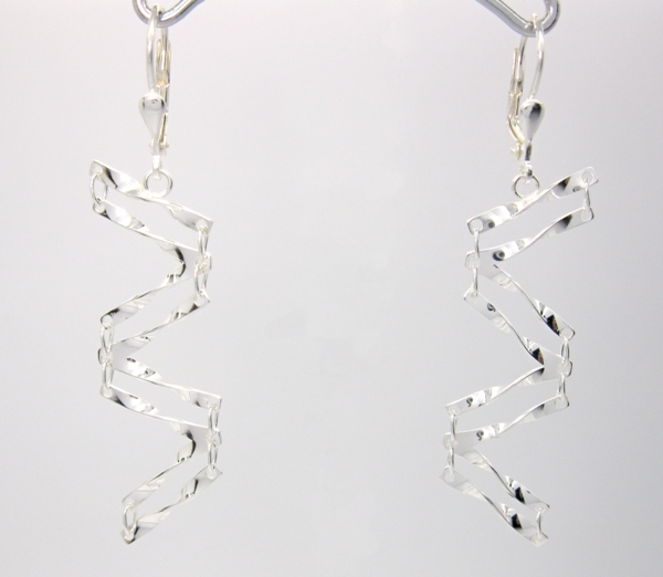 Stříbrné naušnice spirály lesklé dvojité