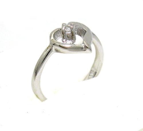 Stříbrný prsten se zirkonem povrchová úprava rhodium velikost 54