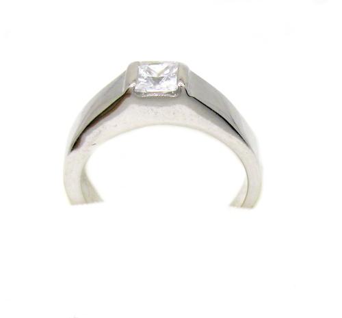 Stříbrný prsten se zirkony povrchová úprava rhodium velikost 49