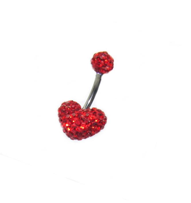 piercing do pupíku s kamínky Swarovski komponent tvar srdce červené