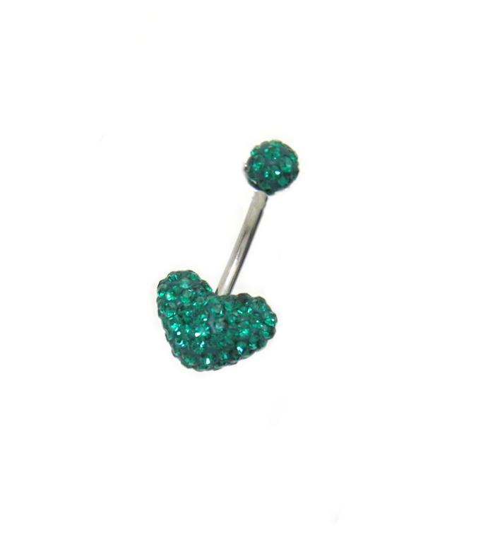 piercing do pupíku s kamínky Swarovski komponent tvar srdce zelené