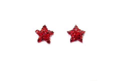 Stříbrné naušnice na puzetku s kamínky Swarovski červená hvězda