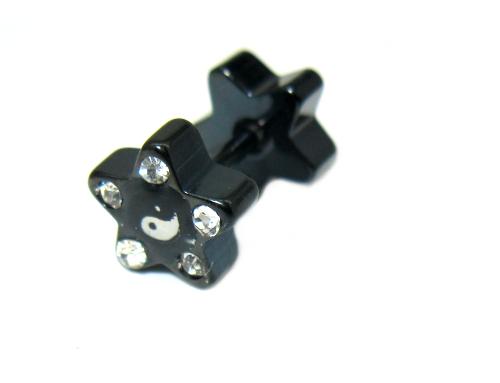 fake piercing do ucha piercing motiv oboustranná kytka černý wolfram