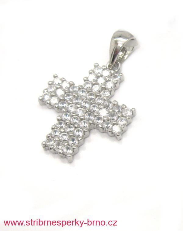Stříbrný přívěsek Swarovski komponent křížek 4a66c17184a