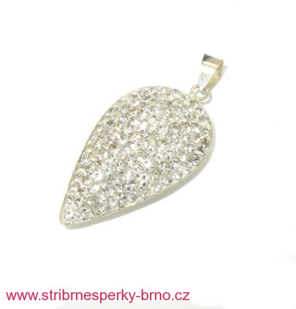 Stříbrný přívěsek Swarovski s bílými kamínky e25b65e990c
