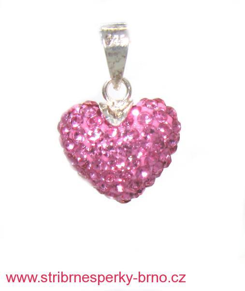 9410d4edc Stříbrný přívěsek s kamínky Swarovski tvar srdce růžové zirkony