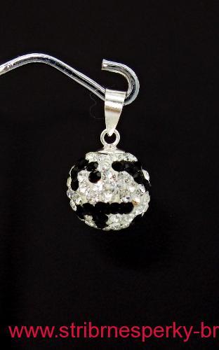 Stříbrný přívěsek kulička Swarovski černo bílá 12 mm 2cd01d8db8c