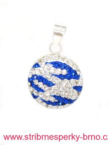 Stříbrný přívěsek kruh s kamínky Swarovski barva bílo - modrá 16fd7d249aa