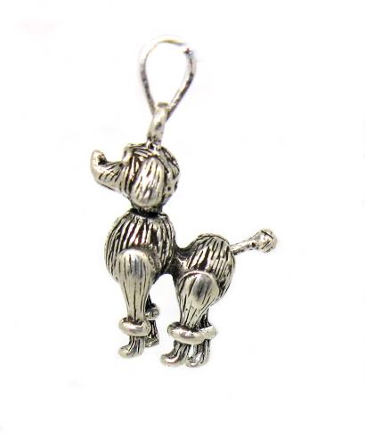 stříbrný přívěsek pes pudlík hýbající se končetiny